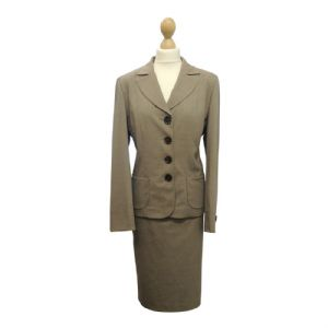 New Ladies Classic Vintage 1940's 50's style Taupe Skirt Suit